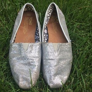 TOMS Silver Glitter Canvas Shoes